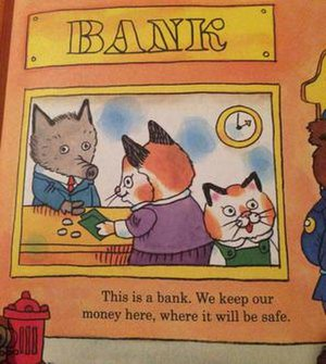Crypto-anarchism - A stereotypical children's book teaching conventional social views on economics and banking.