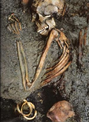 "The skeleton called the ""Ring Lady"" unearthed in Herculaneum."