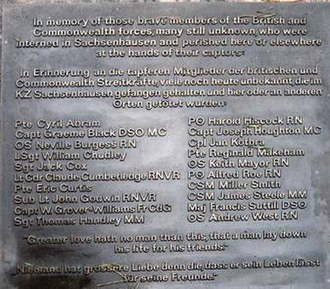 Operation Musketoon - Sachsenhausen Concentration Camp memorial plaque for British and Commonwealth forces