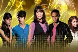 The Sarah Jane Adventures - Main cast of series 2–5 (left to right) Rani, Luke, Sarah Jane, Clyde and Sky (series 5 only)
