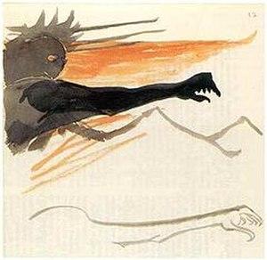 Sauron - J. R. R. Tolkien's watercolour illustration of Sauron.