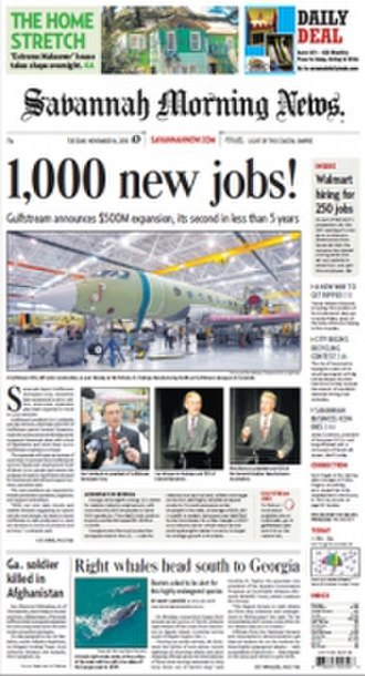 Savannah Morning News - Image: Savannah Morning News front page