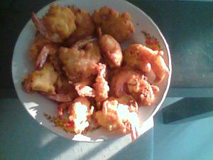 Fried flour shrimps
