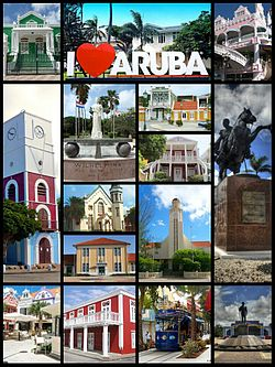 Clockwise: Townhall, I love aruba sign,Royal Plaza,Plaza Simon Bolivar,Plaza Betico Croes,Tram in center of the town,Census Building,Plaza Daniel Leo,Willem III tower.  Center clockwise: Wilhelmina Park,Archeological Museum,Ecury House,Protestant church,Aruban Courthouse,San Francisco church