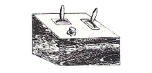 artist's rendering of a bakelite woodgrain pattern box with three switches
