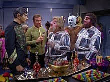 Star Trek TOS - Journey to Babel - Captain Kirk with Vulcan ambassador Sarek and Tellarite ambassador Gav.jpg