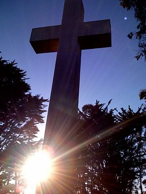 Mount Davidson (California) - The cross at sunset