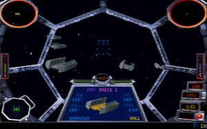 Star Wars: TIE Fighter - The player pilots a TIE fighter inspecting freighters in the game's first story-related mission. Gouraud shading and a 3D view in the target information window are enhancements over the X-Wing game engine.