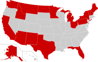 International border states of the United States - International border states are shown in red on this map.