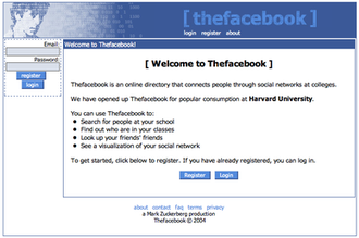 Original layout and name of Thefacebook in 2004, showing singer Peter Wolf's face superimposed with binary numbers as Facebook's original logo, designed by co-founder Andrew McCollum Thefacebook.png