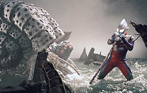 Ultraman Tiga - Ultraman Tiga facing against his final opponent, Gatanothor.