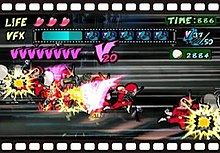 "Several copies of a character in a red superhero uniform attack grey-colored enemies onscreen. Three hearts are displayed at the top of the screen next to the word ""Life"". Below that is a blue bar fixated between the word ""VFX"" and a few film canister symbols. A larger version of the symbol is displayed at the right along with a time and four-digit score. The letter V is repeated across the left of the screen."