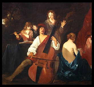 "Bass violin - A ""great bass viol"" or violone, painting by Sir Peter Lely, c. 1640, showing the large size and typical violin shape of a bass violin"