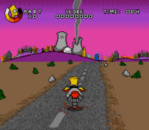 "Virtual Bart - Bart motors through the ruins of Springfield in the ""Post-Apocalypse"" level of the Sega Genesis version."