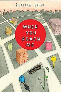 Front cover featuring a shoe, bread bag, winter jacket, library book, Miranda's school, a key, Miranda's apartment, two-dollar bills and a mailbox; all important plot elements in the novel.