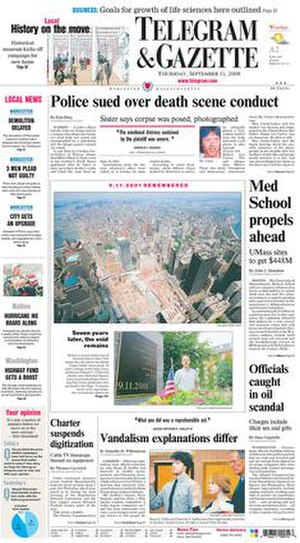 Telegram & Gazette - Image: Worcester Telegram & Gazette front page