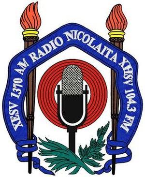 XHSV-FM - Image: XHSV Radio Nicolaita 104.3 logo