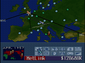 Aerobiz Supersonic - Screenshot of a game of Aerobiz Supersonic, taking place in 1957.