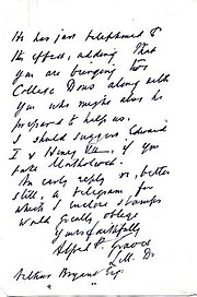 One page of a letter bearing Graves' signature.