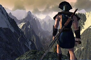Age of Conan - An Aquilonian character in Age of Conan gazing at the snowy mountains of northern Cimmeria