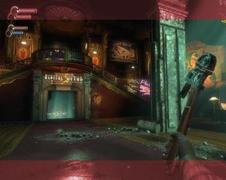 BioShock - Overlay of widescreen and 4:3 screenshots demonstrating FOV differences (tinted areas seen in 4:3 only).