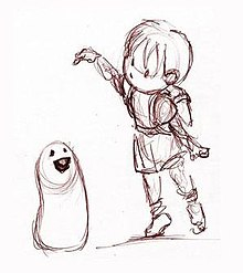 Hand-drawn sketch of the young Boy holding a jellybean over the Blob's head.