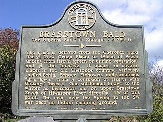 Brasstown, North Carolina - Image: Brasstown Bald Historical Marker 2
