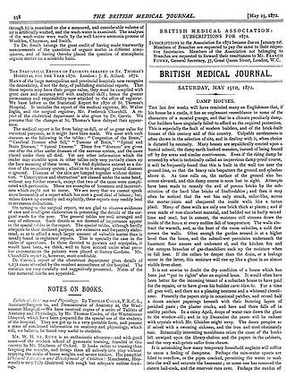 Damp (structural) - Damp Houses - British Medical Journal - May 25th 1872