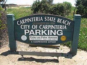 Carpinteria Tar Pits -  Carpinteria State beach sign