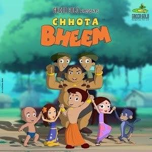 Chhota Bheem - Characters: (left to right) Front row:  Raju, Indumati, Chhota Bheem, Chutki, Jaggu (monkey) Back row: Dholu, Kalia, Bholu