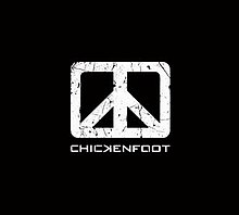 The Chickenfoot logo which resembles the peace sign in a square rather than a circle
