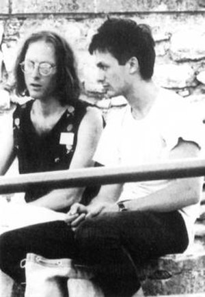 RecRec Music - Chris Cutler (left) of Recommended Records and Daniel Waldner of RecRec Music, July 1986.