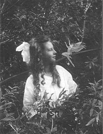 Cottingley Fairies - Frances and the Leaping Fairy, the third photograph