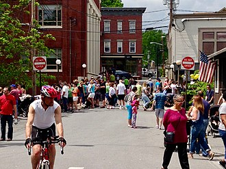 Warwick, New York - Pedestrians flock to Warwick Farmer's Market