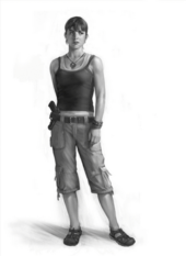 A black and white image of a woman standing cocked to the right. Her right arm is behind her, and her left in front. She is wearing a tank top covering another, white tank top. Her pants are khaki, and reach down just past her knees. She has a gun stuck through the right side of a belt, sandals, a necklace, and a bracelet on her left arm. She has brown hair and looks off in the distance to her left.