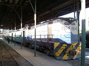Rail transport in El Salvador - FENADESAL passenger train in San Salvador Terminal Oriente on January 17, 2005.