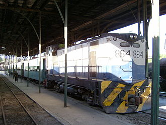Rail transport in El Salvador - FENADESAL passenger train in San Salvador Terminal Oriente on January 17, 2005.