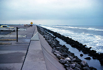 Bulkhead (barrier) - This example of multiple structures includes a massive seawall and riprap revetment.