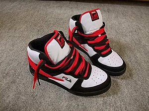 "Sneaker collecting -  A rare and highly desirable pair of ""bred"" (black and red) fila high top sneakers"