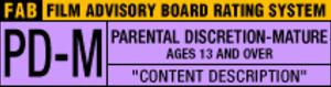 Film Advisory Board - PD-M rating symbol