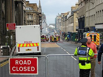 Cowgate - South Bridge closed after the Cowgate fire in 2002