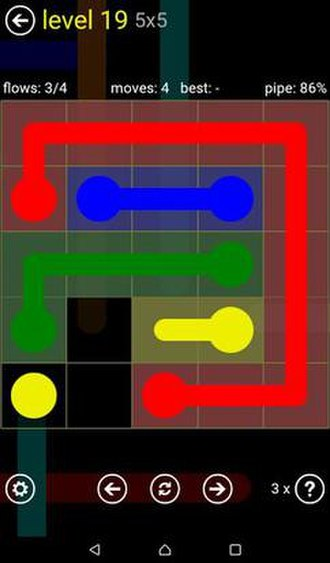 Flow Free - In this screenshot, the flow between the yellow dots needs to be completed to fill the grid