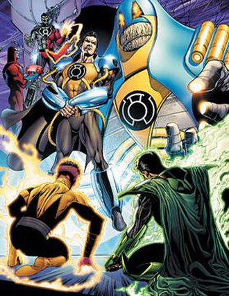 Sinestro Corps War - Prominent members of the Sinestro Corps, including (clockwise from top left): the Cyborg Superman (Hank Henshaw), Superman-Prime, the Anti-Monitor, Parallax (Kyle Rayner), and Sinestro. Art by Ethan Van Sciver.