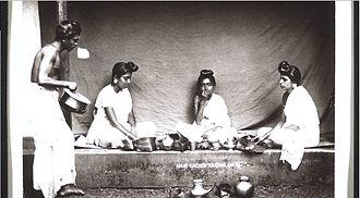 Nair - Nair women having meal in Malabar during the Colonial period