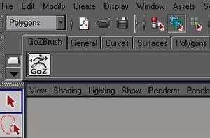 ZBrush - GoZ tab in Autodesk Maya's shelf.