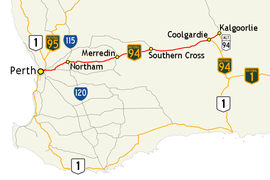 Map of major roads between Perth and Kalgoorlie