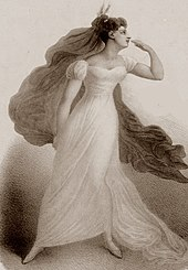 young white woman in Shakespearean costume, with flowing gown and enormous, flowing kerchief, gazing to her left and striking a romantic pose