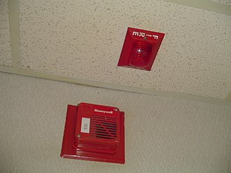 Fire alarm system - A Honeywell speaker and a Space Age Electronics V33 remote light