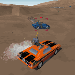 Interstate '76 - A battle in the game between Groove Champion's Picard Piranha (orange) and a Phaedra Rattler.