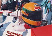 Eddie Irvine at the 1989 Macau Grand Prix. His helmet design was based on that of Ayrton Senna.